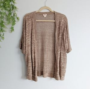 (Mossimo) Brown Knit Crochet Open Cardigan Large